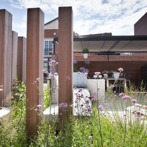 Moderne tuin met overkapping