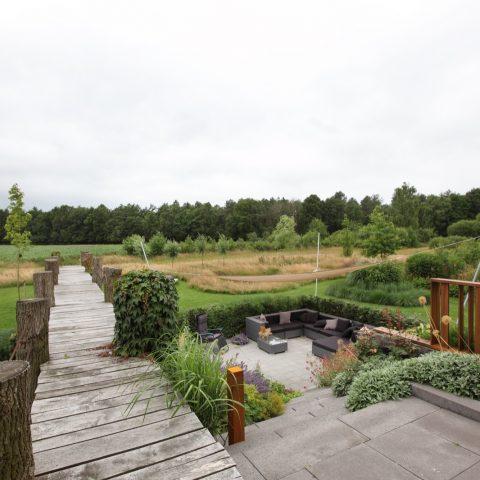 Luxe Tuin Aangrenzend Aan Natuurgebied